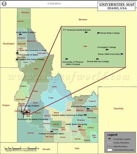 map of usa idaho map of universities in idaho map of colleges and