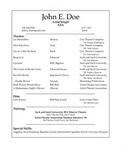 Musical Resume Template theater resume template 6 free word pdf documents