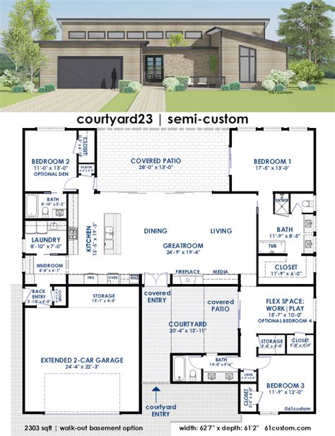 house plan with courtyard courtyard house plans with garage