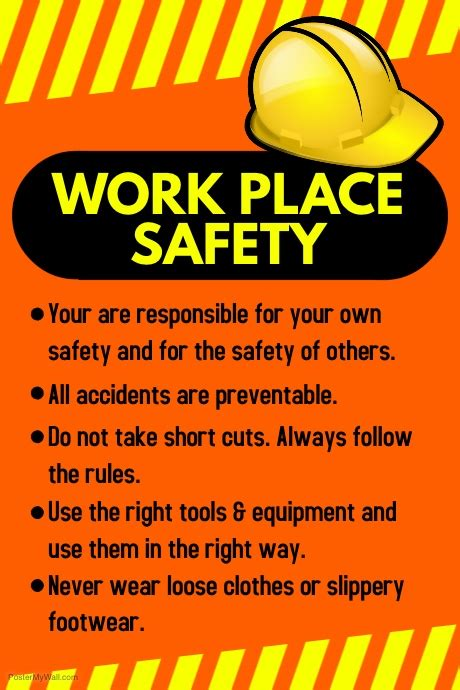 Workplace Safety Poster Template Postermywall Safety Flyer Template