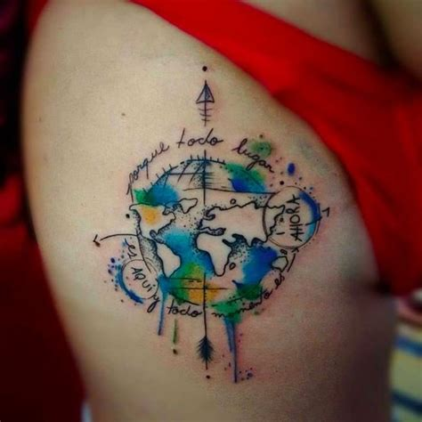 world worldmap compass travel tattoo watercolor