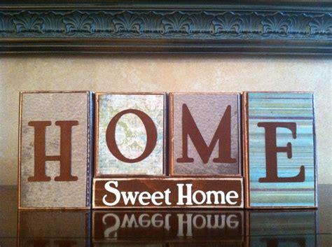 Home Signs Decor Home Sweet Home Wood Blocks Wood Sign Home Decor Fireplace