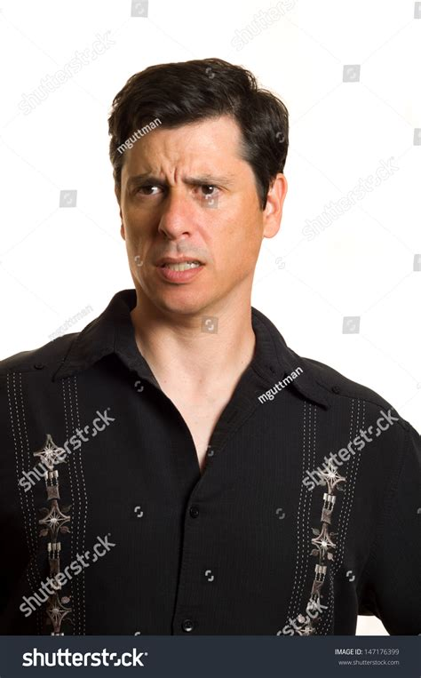 hair middle aged man dark caucasian middle aged man black collared stock photo