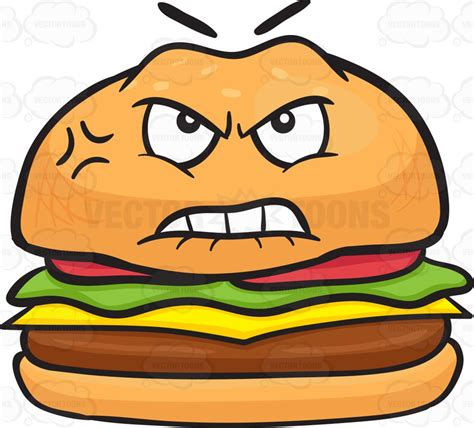 mad and bruised and mad cheeseburger clipart vector