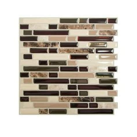 stick on backsplash no grout smart tiles 10 06 in x 10 00 in peel and stick mosaic