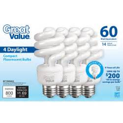 great value light bulb 14 60w equivalent spiral cfl