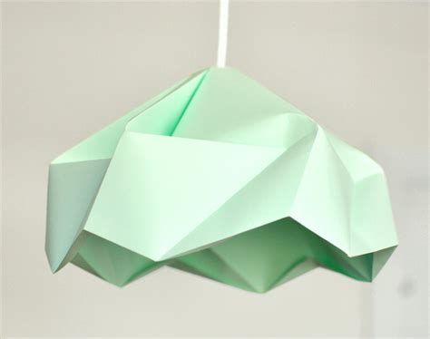 Folded Paper Light Shade - snowflake origami paper l shade lantern mint by