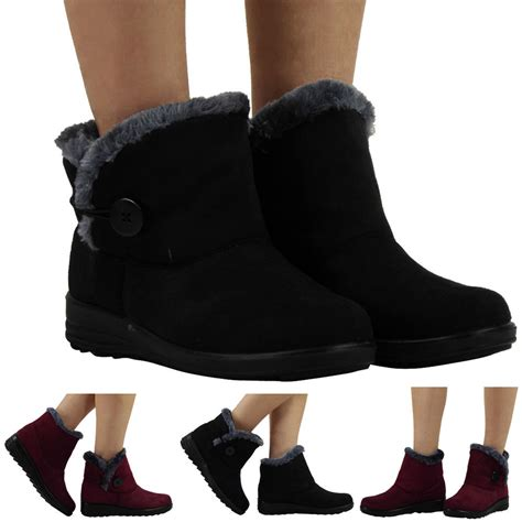 womens flat ankle faux fur comfy warm winter low