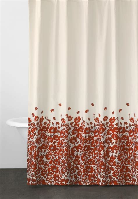 shower curtains with red in them dkny wildflower field fabric shower curtain