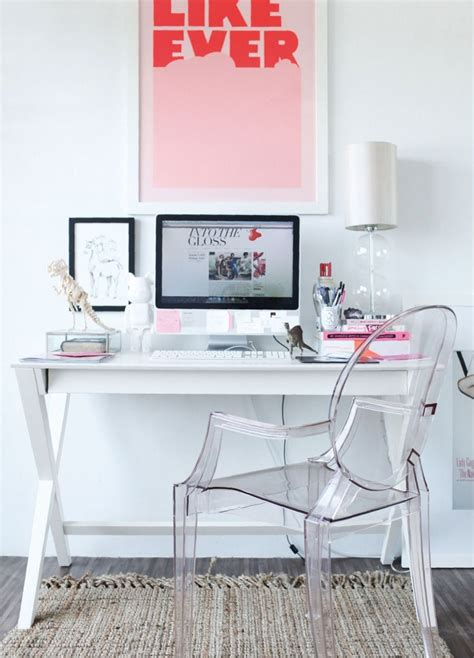 15 Gorgeous Ghost Chairs Bright Pillows Desks And White Desk Decor