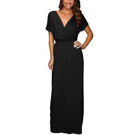32215 Black Blue Sleeve S M L Dress sleeve maxi jersey cocktail evening dress