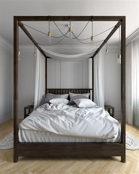 canopy bed wood four poster canopy bed bedroom rustic with cathedral