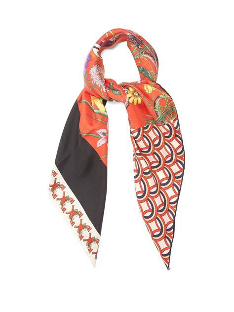 Silk Patchwork Scarf - gucci patchwork print silk twill scarf lyst