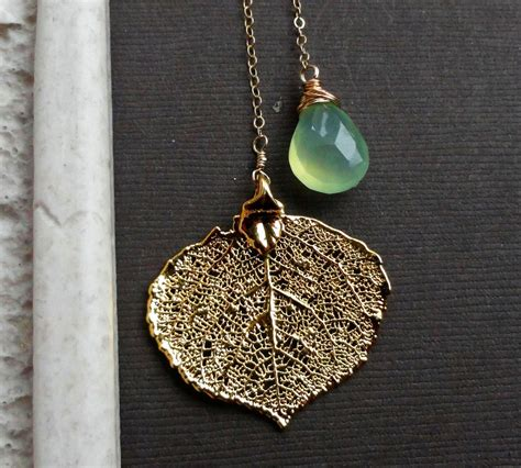 how to make real leaf jewelry leaf necklace real aspen leaf jewelrylime green chalcedony