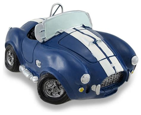 car coin bank vintage style blue and white ac cobra coin bank race car