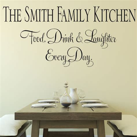 wall stickers for the kitchen personalised family kitchen eat drink laughter wall
