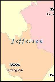 zip code map jefferson county al jefferson county alabama digital zip code map