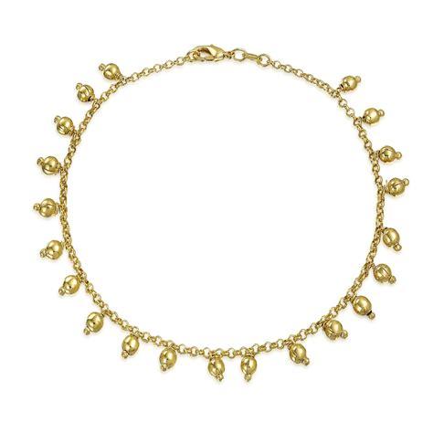 gold filled anklet 5mm dangling ankle bracelet 10in