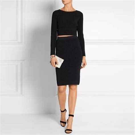knitted crop top and skirt knitted midi pencil skirt cropped top set knit crop