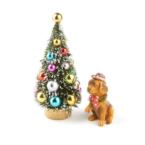 miniature christmas tree and dog set new items
