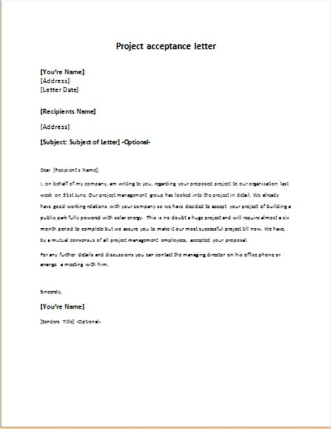 Letter Project Letter For Project Acceptance Writeletter2