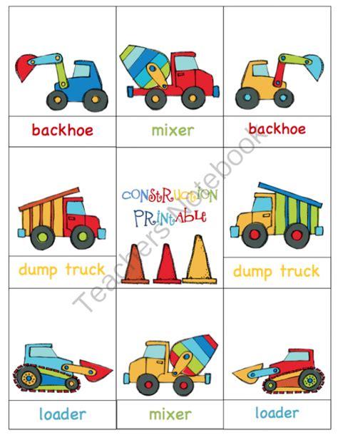 Construction Vehicles Printable ~ Preschool Printables