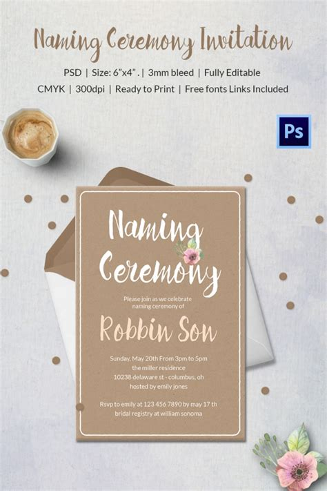 naming ceremony invitation template 37 naming ceremony invitations free psd pdf format