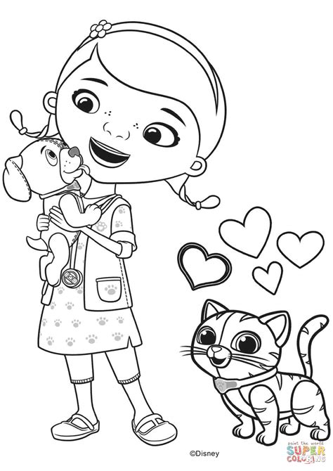 Doc Mcstuffins With Findo And Whispers Coloring Page Doc Mcstuffins Coloring Pages To Print
