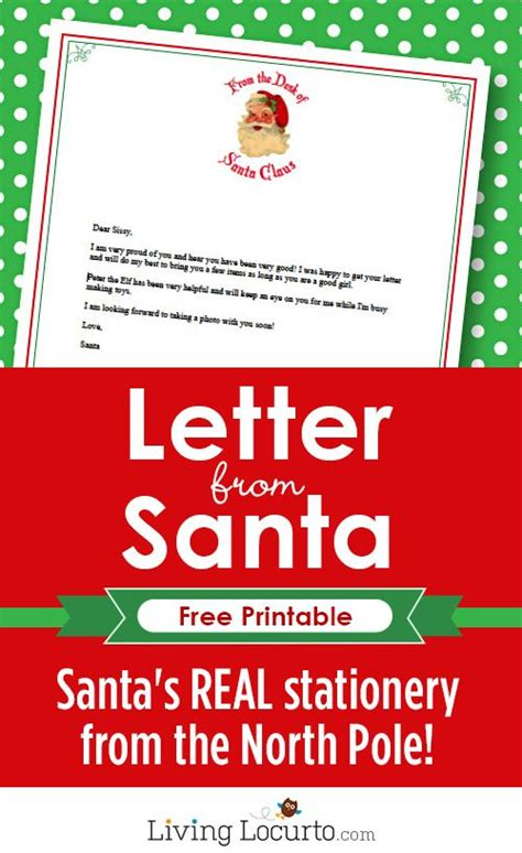 printable christmas letter from santa santa s real stationery type your text and then print