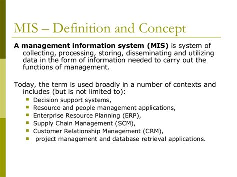 Mba Concepts List by Management Information System Mis