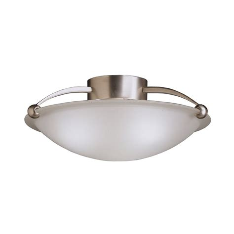 Semi Flush Kitchen Lighting Shop Kichler 17 In W Brushed Nickel Etched Glass Semi Flush Mount Light At Lowes