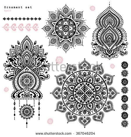indian ornaments and design elements vector set beautiful indian ethnic ornaments folk stock vector