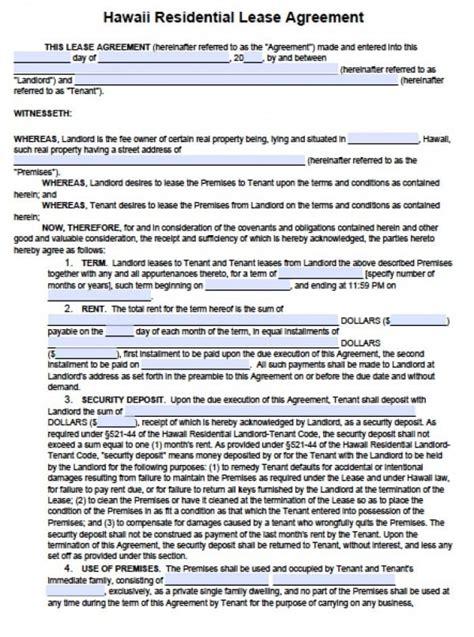 Free Hawaii Residential Lease Agreement Pdf Word Doc Free Rental Agreement Template Hawaii