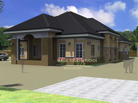 4 Bed Bungalow House Plans by 4 Bedroom Bungalow