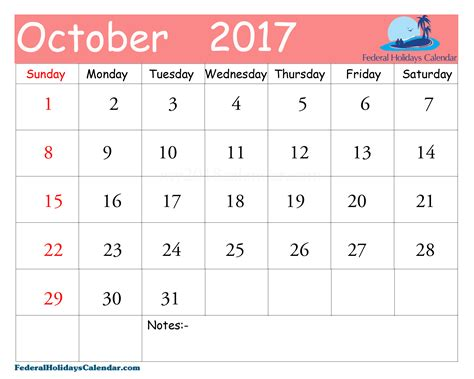 Calendar 2017 October With Holidays October 2017 Calendar Printable Template Usa Uk Canada