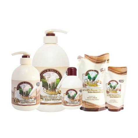 Velvy Goats Milk Shower 1liter Green Tea Aloe Sabun Mandi 1l kambing velvy