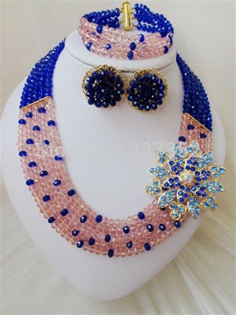 peach navy blue nigerian delicate charming beaded jewelry royal blue peach women