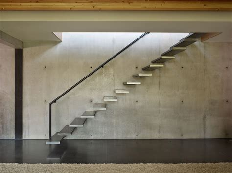 Exposed Concrete Interior by Stairs Exposed Concrete Wall West Seattle Residence With