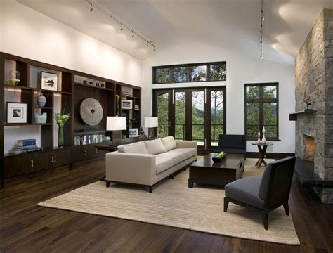 Dark gray chair living room contemporary with vaulted ceiling dark wood entertainment center