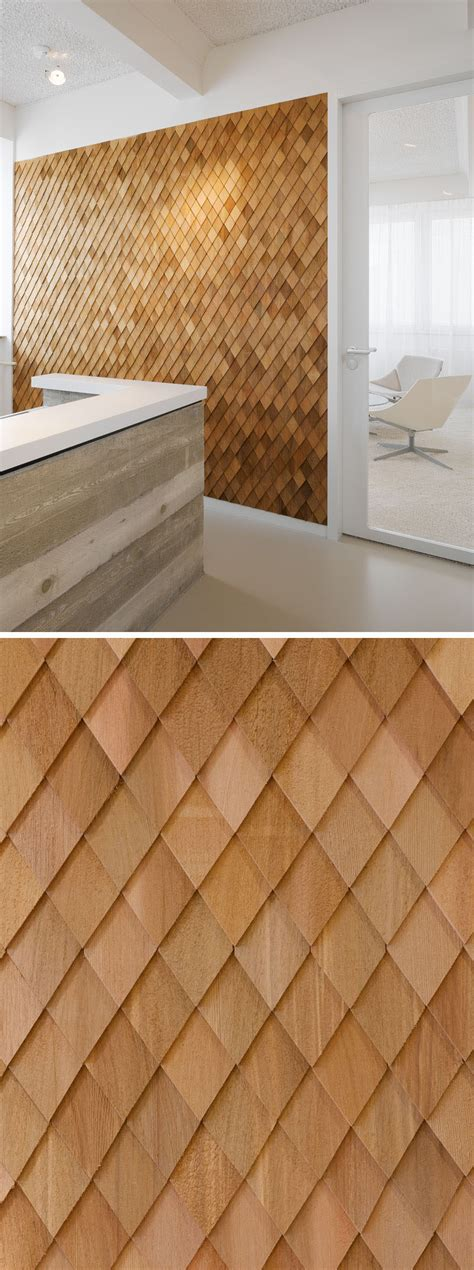 wood shingles  create  accent wall adds warmth