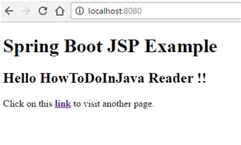 spring boot jsp view exle howtodoinjava