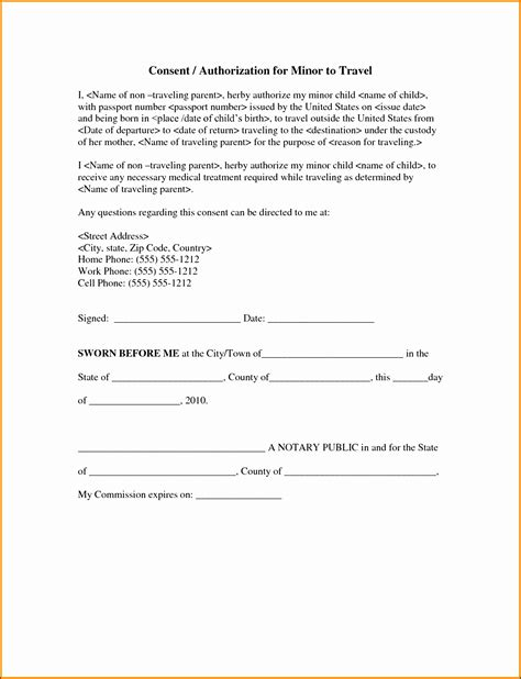 Consent Letter Notary beautiful notarized letter template for child travel