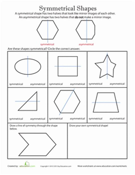 shape pattern worksheets for 2nd grade symmetrical shapes worksheet education com
