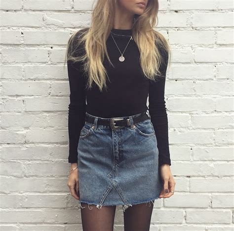 denim skirt and sheer tights and threads