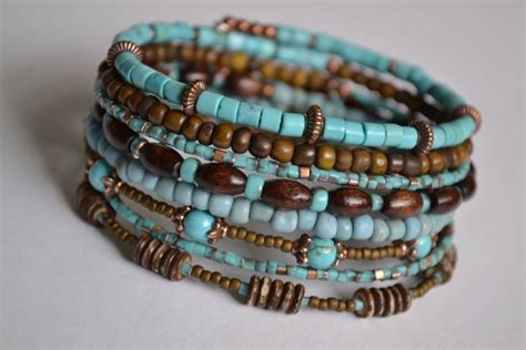 bracelet wire for turquoise and brown memory wire bracelet boho wrap bracelet