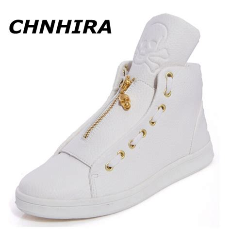 mens white black high top shoes 2016 fashion pu