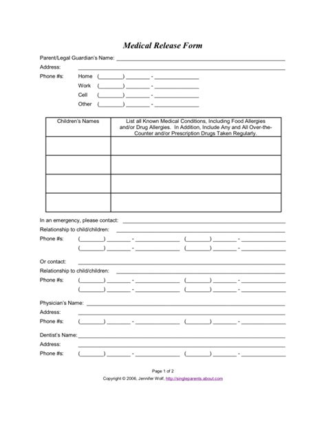 use this medical release form to protect your kids in an