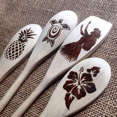 custom wood burned spoons aloha hawaii design natural
