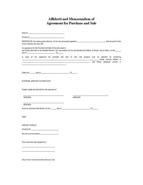 sle of memorandum affidavit and memorandum of agreement for purchase and sale hashdoc