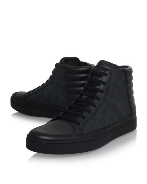 mens black high top sneakers gucci common logo high top sneakers in black for